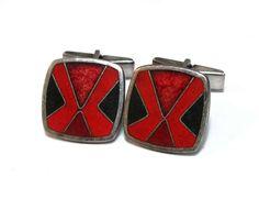 Perli Vintage-Manschettenknöpfe m. schwarz-rotem Emaille Vintage Cufflinks, Coin Purse, Purses, Wallet, Accessories, Jewelry, Fashion, Art Deco, Geometric Designs