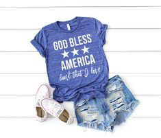 God Bless America shirt- Land that I Love - of July shirt - Patriotic shirt - America Shirt - of July Apparel - Memorial Day shirt Fourth Of July Shirts, Patriotic Shirts, 4th Of July, God Bless America, Love Shirt, T Shirt, Camping With Kids, Memorial Day, Blessed