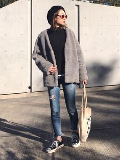 Best Casual Outfits, Korean Outfits, Winter Outfits, Grunge Fashion, Girl Fashion, Fashion Outfits, Womens Fashion, Asian Street Style, Street Style Women