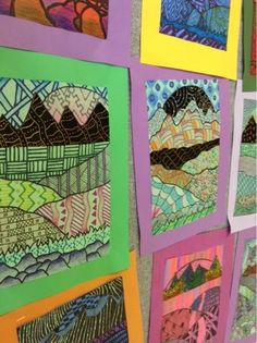 """(Mini) Zentangle Landscapes --- With all the """"freeze"""" days last week, our Zentangle Landscapes became smaller to adjust for the time loss. The small composition has created very intricate pattern and incredible detail. I think we'll continue with the reduced size in future years!"""