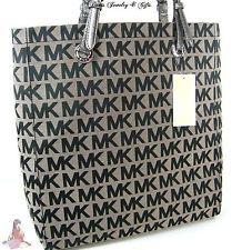 88028acd29f Michael Kors Logo MK Signature Purse XL Tote Black Gray Shoulder Hand Bag  NWT Michael Kors
