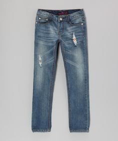 Take a look at this Medium Wash Distressed Jeans by Lavo Collections on #zulily today!