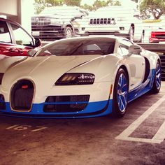 Really cool, blue and white two-toned Bugatti Veyron