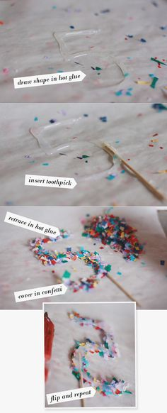 Hot glue + confetti + parchment paper = never ending possibilities for cake toppers, ornaments, or party decorations.