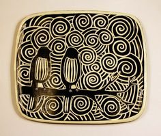 Ravens and Swirls Tray by MustacheCatDesigns on Etsy,
