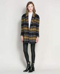 CHECKED WOOL COAT from Zara