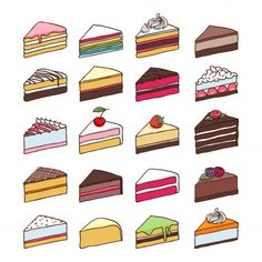 Colorful sweet cakes slices pieces set hand drawn vector illustration. Premium Vector   Free Vector #Freepik #vector #freewedding #freefood #freebirthday #freecoffee Cute Food Drawings, Mini Drawings, Cute Kawaii Drawings, Doodle Drawings, Kawaii Doodles, Cute Doodles, Cute Food Art, Cute Art, Dessert Illustration