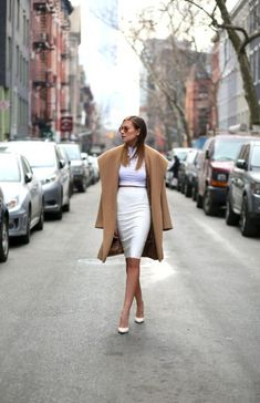 Shop this look for $67: http://lookastic.com/women/looks/white-cropped-top-and-white-pencil-skirt-and-camel-coat-and-white-pumps/3860 — White Cropped Top — White Pencil Skirt — Camel Coat — White Leather Pumps