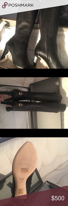 Brand new never worn. No price tag Black leather boots Gucci Shoes Heeled Boots