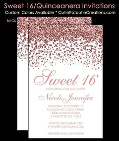 Modern Rose Gold FAUX Glitter Sweet 16 Birthday Invitations, Quinceanera Invitation, Sweet 15 Birthday Party Invitation by Cutie Patootie Creations