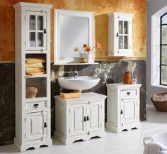 SIT Möbel: 5-teiliges Badezimmer TOLEDO in Antik-weiß - Landhausstil im Shabby-Look - Mangoholz - Versandkostenfrei & auf…