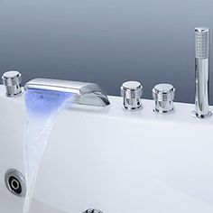 Color Changing LED Waterfall Tub Faucet with Hand Shower (Chrome Finish) - FaucetSuperDeal.com