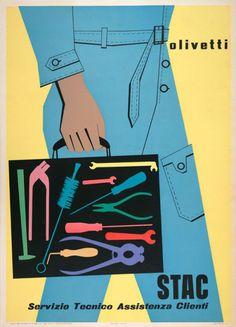 Vintage Poster - Egidio Bonfante: Olivetti STAC Servizio Tecnico Assistenza Clienti poster (1953) - Tradie - Tools - a Technician