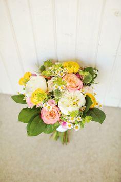 pink and yellow bouquet! http://www.weddingchicks.com/2013/08/30/summer-wedding-bouquets/
