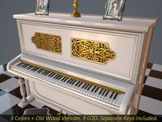Upright Piano with 4 level of detail + 2 versions with separate keys. Chandelier, photo frames and chess floor texture included. 4 colors to choose: White, Black, Brown and Old Wood. Spinet Piano, Architectural Materials, Floor Texture, Upright Piano, Low Poly Models, Texture Packs, Diy Arts And Crafts, Old Wood, Cartoon Styles