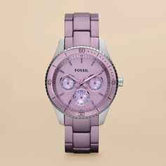 FOSSIL® Watch Collections Stella Watches:Women Stella Aluminum and Stainless Steel Watch – Purple ES3038