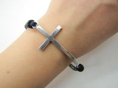 Steampunk Bracelet antique silver crossing  Black by sevenvsxiao, $5.59