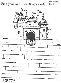 castle Mazes For Kids, Art For Kids, Fairy Tale Theme, Fairy Tales, Colouring Pages, Coloring Pages For Kids, Chateau Moyen Age, Castle Party, Medieval Crafts