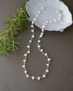 Sterling Silver Freshwater Pearl Necklace - 20 Inch.  Classic pearl jewelry by Blue Room Gems.