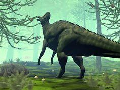 Corythosaurus Dinosaur Eating - Render by Elenarts - Elena Duvernay Digital Art Prehistoric Animals, Fine Art America, Digital Art, Horses, Canvas, Prints, Paleo, Poster, Image