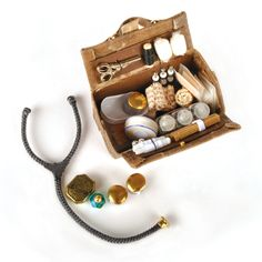 Miniature Dollhouse DIY medicine bag (inc. contents)  Source: The Dolls House Magazine