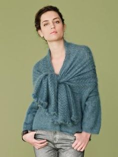 Crystal - Knit this womens delicate wrap sweater from Rowan Knitting & Crochet Magazine 54,