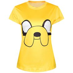 Yellow Ladies Crew Neck Cartoon Adventure Time Jake Print T-shirt ($19) ❤ liked on Polyvore featuring tops, t-shirts, shirts, yellow, crewneck t-shirt, t shirts, comic book, yellow t shirt and crew neck tee