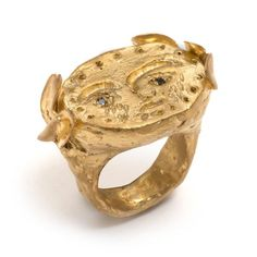 Sterling silver gold plated with black diamonds 'Weep For You' ring by Pieces of Eight artist, Emma Homfray.