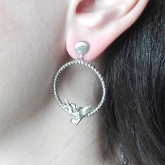 Angel of Love Earrings – Silver Cupid Eros Romantic Jewelry, ideal Anniversary Love Wife - Girlfriend Gift #angelearrings #romanticearrings #cupid #giftforwife #valentineearrings #greekearrings #romanticjewelry #lovegift #anniversarygift #girlfriendgift