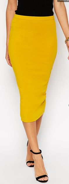 i love the mustard color on this midid pencil skirt