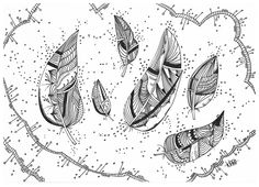 Le Creazioni di Kiara: crazy for DOODLING #18 ... FEATHERS ... piume piumette e piumaggi!