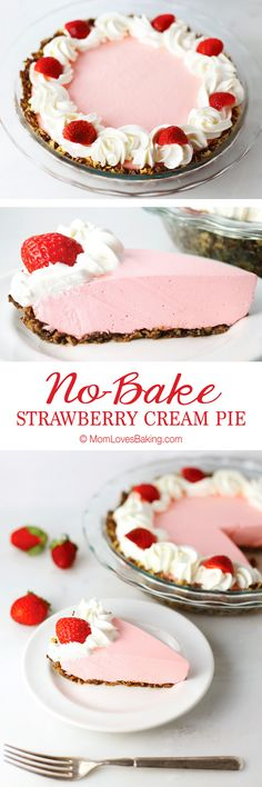 No-Bake Strawberry Cream Pie - light and airy with a delightful crust made of Honey Bunches of Oats Chocolate Easy to make and it s gluten free Pie Recipes, Baking Recipes, Sweet Recipes, Oats Recipes, Recipies, Jello Recipes, Chicken Recipes, Strawberry Cream Pies, Strawberry Recipes