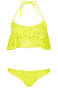 Swimsuits for girls- Lime crochet shelf bikini