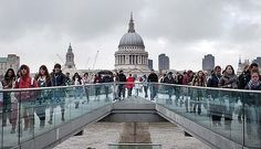 The Millenium Bridge and St Paul's Cathedral, London