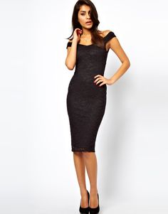 Asos Midi Bodycon with Lace Off Shoulder in Black - Lyst