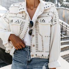 Ocassion Jeans Gilet Giacca Jeans Jeans longjacke Cappotto Giacca da Donna Strass Blu