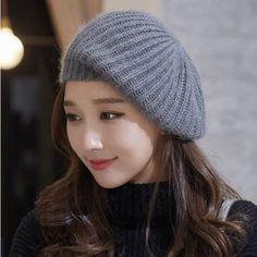 d271b8452d81c Gray knit beret hat for women warm winter knit hats outdoor wear