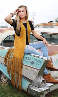 Suede Mustard Vest Fringe with studded detail Size is one size fits most