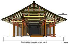 唐招提寺金堂 奈良時代(770-781年ごろ)/奈良 桁行7間27.92m×梁間4間14.62m