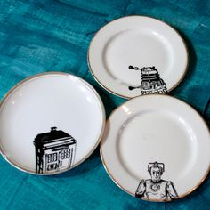 Dr. Who altered vintage plates