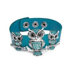 Crystal Mother and Baby Silver Owls Bracelet Snap Leather