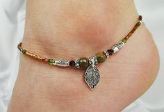 Anklet Ankle Bracelet, Metal leaf Charm, Semi Precious Red Creek Jasper, Burgandy Swarovski Crystal, Copper, Beaded, Beach, Vacation - seen on Etsy