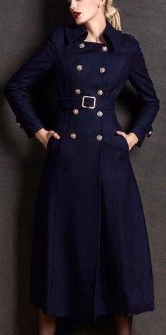 Belted Wool Military Coat in Dark Blue or Black