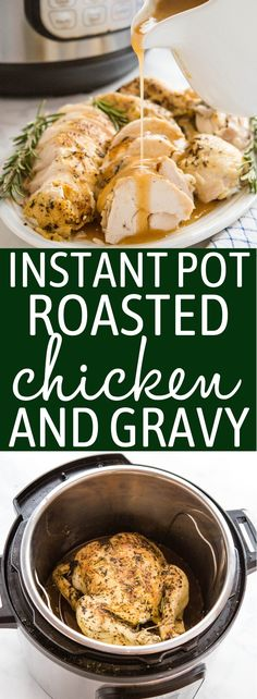 This Instant Pot Roasted Chicken and Gravy is the perfect quick and easy family meal that's on the table in under 45 minutes! Juicy roast chicken with browned skin and velvety gravy - no oven or stovetop required! Recipe from thebusybaker.ca! #roastchicken #gravy #homemade #familymeal #sundaydinner #chickendinner #instantpot #pressurecooker #easy #fast #simple #recipe via @busybakerblog Roast Chicken Pressure Cooker, Instant Pot Pressure Cooker, Pressure Cooker Recipes, Slow Cooker, Foil Baked Chicken, Chicken Skillet Recipes, Roasted Chicken, Turkey Recipes, Roast Chicken And Gravy