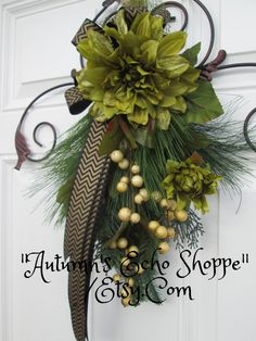 CHRISTMAS DOOR SWAG , Wreath Alternative Decor , Christmas Wreath , Christmas Swag , Holiday Wreath , Holiday Decor , Seasonal Decoration by AutumnsEchoShoppe on Etsy