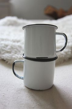 Set of Two Enamelware Cups