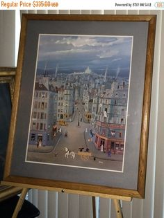 ON SALE Michel Delacroix Rare Lithograph ART Large  Paris Montmartre Framed affordable art Double Matted! Traditional See Pay by 3 Installme by USANOW on Etsy