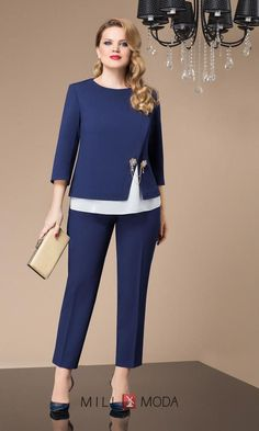 Комплект Agatti 2048 - in 2020 Fashion Pants, Hijab Fashion, Fashion Dresses, Blouse Styles, Blouse Designs, Vetement Fashion, Dress Suits, Office Outfits, Work Attire