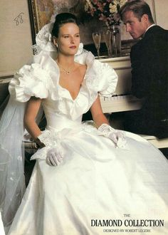 Typical example of the excesses--especially in bridal wear--of the This is actually one of the better designs, if it were scaled down somewhat. Chic Vintage Brides, Vintage Gowns, Vintage Bridal, Wedding Dress With Veil, Wedding Gowns, Bridal Looks, Bridal Style, Style Année 80, Unique Dresses