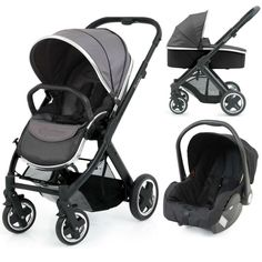 BabyStyle Oyster 2 Black Carrycot Travel System (Slate Grey)